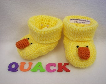Baby Booties, Duck  NB to 6 Months Finely Finished Crochet Baby Gift