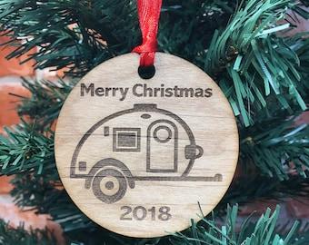 2018 Teardrop Trailer Christmas Ornament, Tiny Caravan, Teardrop Camping Trailer, Glamping Teardrop, Glamping Christmas, Tiny Teardrop, Camp
