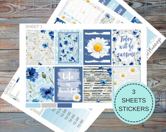 Erin Condren Planner Stickers vertical Planner Stickers Kit / Сhamomile Сornflower / Weekly Agenda Set, Watercolor Blue Sticker.