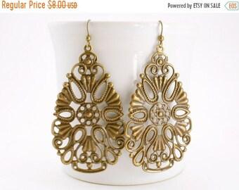 20%OFF SALE Large Gypsy Earrings, Bohemian Filigree Earrings, Lacy Teardop Earrings