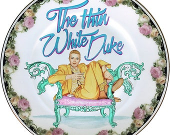 L'assiette en porcelaine Vintage Thin White Duke - David Bowie - - #0436