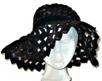 60s Floppy Hat, Black Floppy Brim, Black Cellophane Straw, Made in Italy, Black Raffia, 1960s Floppy Hat, Summer Straw Hat, Black Sun Hat