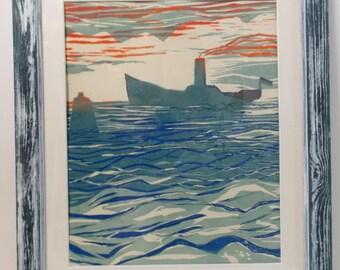 woodblock print original liner on the waves