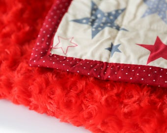 Red faux fur baby blanket throw baby girl blanket, daycare cozy baby blanket, stroller winter blanket soft baby blanket, baby shower blanket