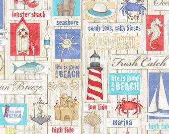 Surf's Up Northcott 21543-11 Cotton Quilting Sewing Crafting Beach Fabric Mulit length cuts