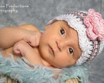 Toddler Girl Hat, Crochet Baby Hat, Baby Shower Gift, Baby Girl Beanie, Crochet Newborn Hat, Baby Girl Hat, Newborn Prop, White Pink Grey