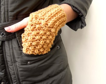Fingerless Gloves Camel Gloves Caramel Light Brown Toffee Desert Adventure Blackberry Knit Bubbles Winter Fashion Popcorn Knit