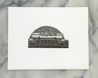 Hollywood Cinerama Dome, Unframed Letterpress Print