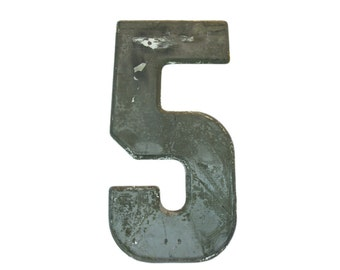 """7 1/2"""" Vintage Metal Number 5 Silver - Marquee Signage Sign - Wedding Birthday Numbers Kid's Party Decor Sports House Address Outdoor"""