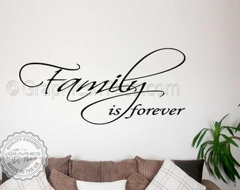 Family is Forever Quote Inspirational Family Wall Art Sticker Home Vinyl Wall Decor Decal