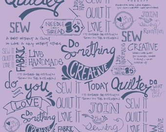 Purple Words from the Sew It Quilt It Collection by Amy Hamberlin for Henry Glass, Choose Your Cut