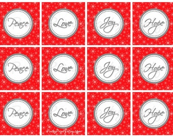 INSTANT DOWNLOAD - Printable - Red Christmas Cupcake Toppers & Favor Tags - Peace, Love, Joy, Hope