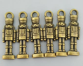 Toy/Tin Soldiers Charm, Bronze/Antique Brass, 27x7.5x3mm - 6 Pieces