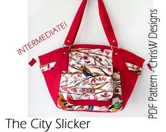 "Purse Sewing Pattern - INTERMEDIATE version! ""The City Slicker"" bag by ChrisW Designs"