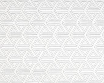 Two 26x 26 Custom Designer Decorative Pillow Covers- Euro Shams - Jacquard Diamond Geometric-  White
