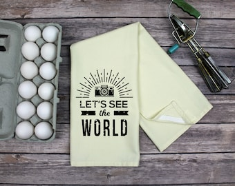 Kitchen Dish Towel - Tea Towel -  Lets See The World