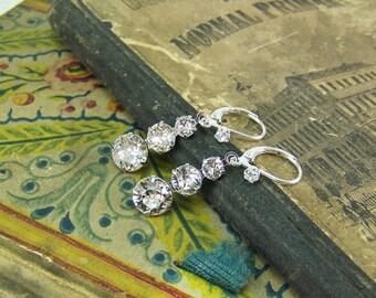 Crystal Earrings, Triple Crystal Earrings, Dangle Crystal Earrings, Silver Crystal Earrings, April Birthstone Earrings, Bridal Earrings