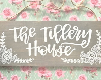 home sweet home sign / last name sign / house sign / housewarming sign / front door sign / personalized gift / wedding gift sign.