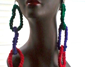 3 Tier Red Purple and Green Crochet Earrings