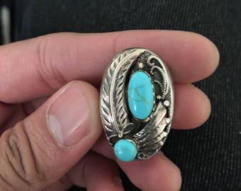 Vintage Turquoise Ring Two Stones