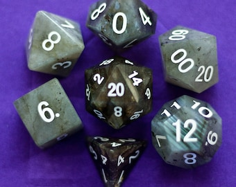 Labradorite Gemstone Polyhedral Dice Set:  Hand Carved with Quality! Full-Sized 16mm. Great for DnD RPG Dungeons and Dragons