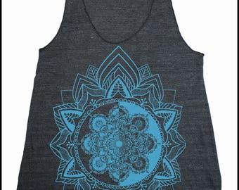 Women's HARMONIC MANDALA Tank Top Sacred Geometry Dotwork Tattoo Style Shirt