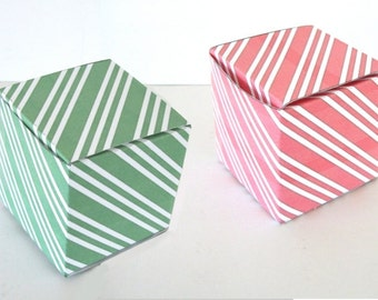 Red and Green Stripes Gift Box Printable Cube Favor Boxes Green Spearmint and Red Peppermint