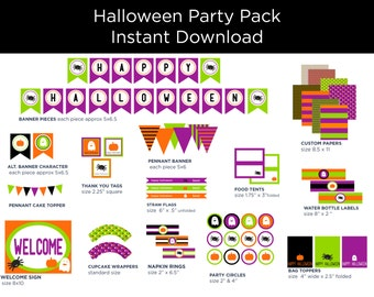Printable Party Pack - Halloween Decorations - Halloween Party Pack - Halloween Party Decor - Bright Halloween Colors