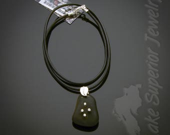 Lake Superior Basalt Stone and Sterling Silver Pendant