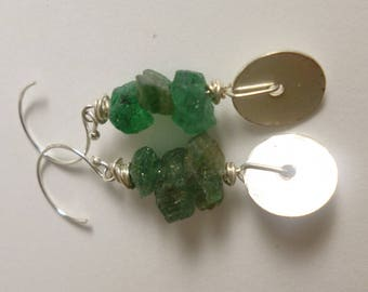 rough apatite and silver earrings