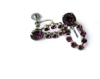 Purple Rhinestone Screwback Earrings Circa 1950
