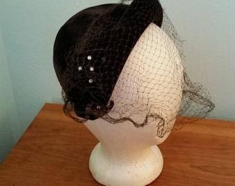 Brown velvet hat