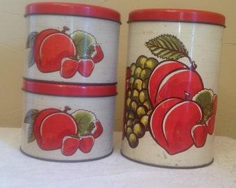 Fruit Design Vintage Canister Tins set of 3