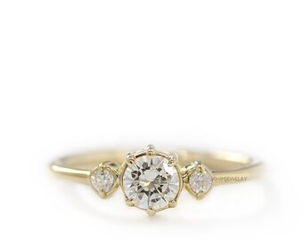 Round Diamond 3 Stones Simple Engagement Ring, Diamond Wedding Ring, Round Brillant Diamond
