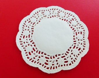 48 round doilies with pink paper kitchen scrapbooking cake decoration 12 cm