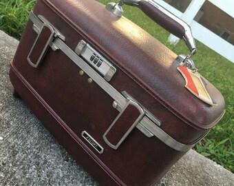 Vintage Burgundy Train Case
