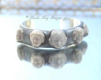 Frozen Charlotte Doll Head Cuff Bracelet Silver Plated Bracelet One of a Kind Doll Parts Cuff Lorelie Kay Original