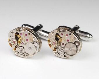 Steampunk Cufflinks Vintage Hamilton 768 Watch Movement Mens Gear Cuff Links by Steampunk Vintage Design