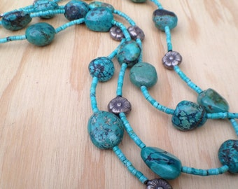 Double Strand Turquoise Necklace with Silver Flowers