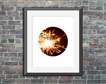 Unframed Circle Print Photo fireworks art poster photography artwork sparkle wall print decor housewarming gift independence day