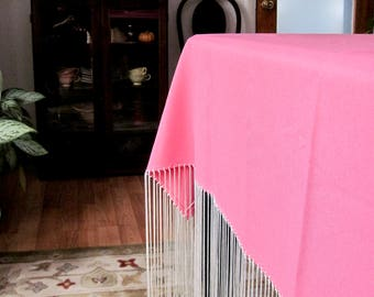 Bohemian Pink Fringed Tablecloth, Pink Shawl, Square Pink Square Tablecloth, Shabby Chic Tablecloth, Cottage Style Decor, Spring Decor