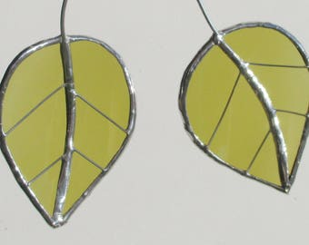 Twin Green Birch Leaves - Upcycled Stained Glass Suncatcher