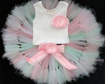 Pink and Mint Party Dress   Baby Girls Tutu   12 Months   12-18 Months   2T   9 Months