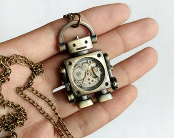 Anatomy of a Robot - vintage watch gears steampunk necklace
