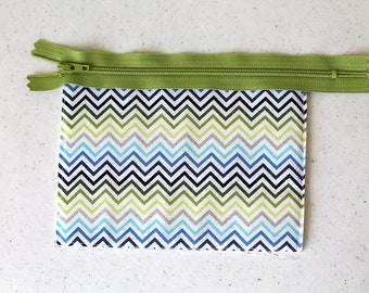 Chevron green, change purse, mini zipper pouch, earbud pouch, business card holder, silver, small hand bag, coin purse, cosmetic chapstick