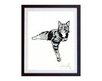 Feline Art Painting, Black and White Cat Illustration, Mixed Media Cat Art
