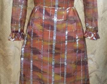1970s Orange and Metallic Maxi Dress