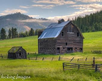Summer Barn, Washington Barn,Scenic Barn, Barn photograph, Barn at Sunrise