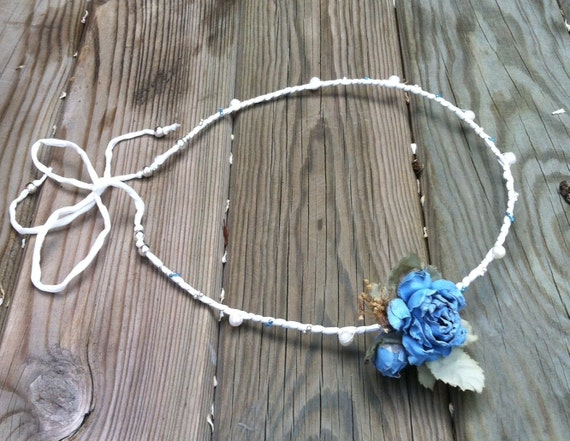 PEARLS and blue FLOWERS silk HEADBAND