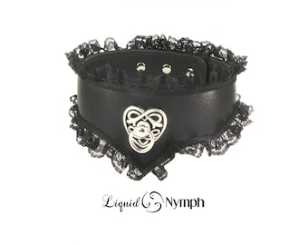 BDSM Collar Black Leather Lace Celtic Heart Kitten play Custom Fetish Choker - Celtic Jewelry - Daddy Dom Discreet Girl Ddlg Day Collar